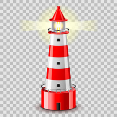 Lighthouse building isolated on grey vector illustration