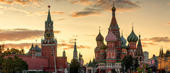 Moscow Kremlin and St Basil's Cathedral at sunset, Russia