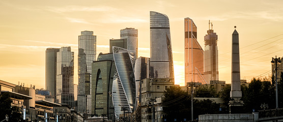 Panorama of Moscow with skyscrapers of Moscow-City at sunset, Russia