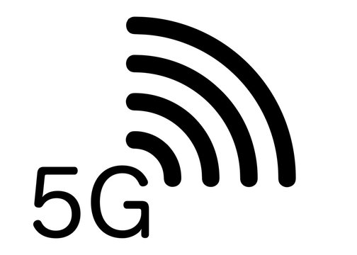 5G new wireless internet wifi connection - 5 g new generation mobile network icon, vector isolated or white background
