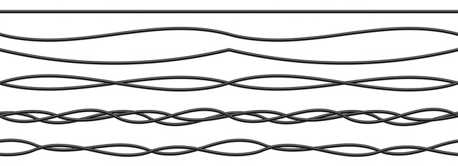 Creative vector illustration of realistic electrical wires flexible network, connection industrial power energy cables isolated on transparent background. Art design. Abstract concept graphic element