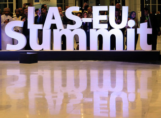 A sign reading 'LAS-EU summit' at the first EU-Arab League Summit is seen in Sharm El Sheikh