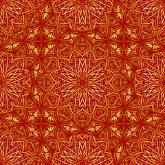 Golden mandala seamless pattern on red background.