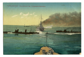 German historical postcard:  The Navy maneuvers. A squadron of torpedo ships in the sea. world war one 1914-1918. Germany. Colored photo