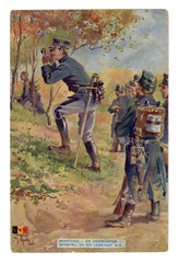 """French historical postcard: """"infantry on the look out"""" Soldiers of the Belgian army in the woods are watching the enemy. world war one 1914-1918. Kingdom of Belgium"""