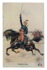 French historical postcard: African colonial cavalry troops  in full gear galloping to the attack with drawn swords. world war one 1914-1918. Republic of france
