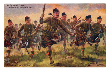 English historical postcard: The Queen's Own Cameron Highlanders. A charge up the hill.  Into the attack. world war one 1914-1918. Scotland. England