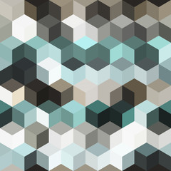 Hexagon grid seamless vector background. Cool polygons with bauhaus corners geometric graphic design. Trendy colors hexagon cells pattern for game background. Honeycomb cube shapes mosaic.