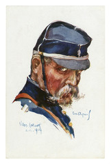 French historical postcard: portrait of an experienced old soldier with bushy moustache and beard in military uniform and blue cap. world war one 1914-1918. France