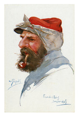 French historical postcard: portrait of an old experienced soldier in a red cap with a handkerchief who smokes a pipe. world war one 1914-1918. France