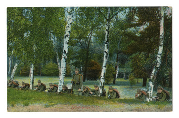 Old German postcard: The painted photo, division of soldiers-Rangers in the wood among trees prepare for defense. world war I 1914-1918, Germany