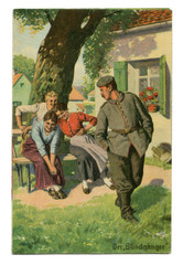 """Old German postcard: Military-humorous series """"Always professional"""", № 8 """"the dud"""". The first world war of 1914-1918, Germany"""