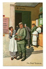 """Old German postcard: Military-humorous series """"Always professional"""", № 2 """"wire obstacles"""". The first world war of 1914-1918, Germany"""