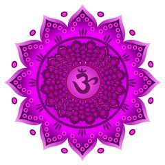 Circle mandala pattern. Sahasrara chakra vector illustration.