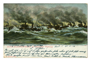 Old German postcard: Navy, warships at sea. The maneuvers of the torpedo. Stormy sea. Black smoke from ship's pipes. Kiel, 1905, Germany