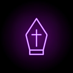 priest hat outline icon. Elements of religion in neon style icons. Simple icon for websites, web design, mobile app, info graphics