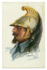 Old French postcard: brave Dragoon in a gold helmet with a plume. Argonne. The first world war of 1914-1918, France, Entente.