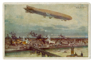 Old German postcard: huge Zeppelin airship flies over the city of Warsaw. Bombing. Fires. On the background river, bridge and Church, first world war 1914-1918