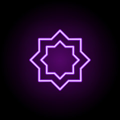 eight-pointed star outline icon. Elements of religion in neon style icons. Simple icon for websites, web design, mobile app, info graphics