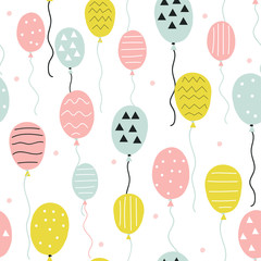 Seamless pattern with hand drawn balloons. Cute holiday print. Vector illustration.