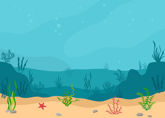 Underwater landscape with seaweeds. Panoramic seascape. Vector illustration.