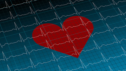 Red heart on dark blue cardiogram background 3D illustration