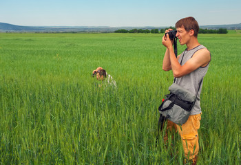 Two photographers takes a pictures of nature