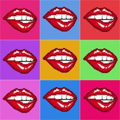 Vector illustration of woman red lips on black background. Seamless pattern. Pixel art. 8 bit