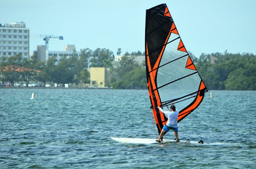 Winsurfer enjoying a very windy Florida day on Biscayne Bay.