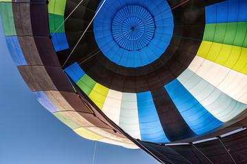 Detail of a hot air balloon at high altitude.