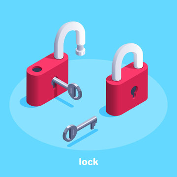 isometric vector image on a blue background, a red lock with a key, open and closed retro lock