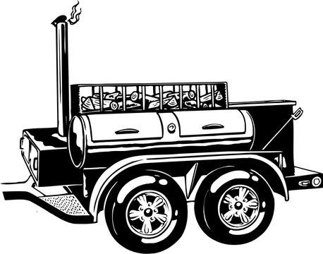 Mobile Barbecue Vector Illustration