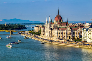 Wall Murals Budapest Danube River leading to Hungarian Parliament