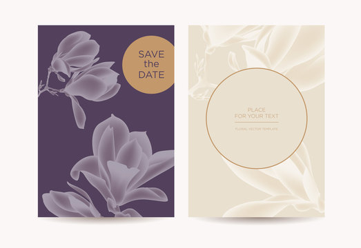 Postcard in the botanical style. Magnolia flowers and buds on blue background. Template design can be used for wedding invitations, restaurants, spas, beauty salons.