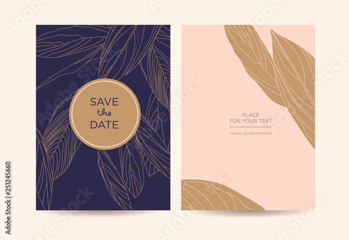 Modern Elegant Invitation Golden Graphic Flowers On A Dark Blue