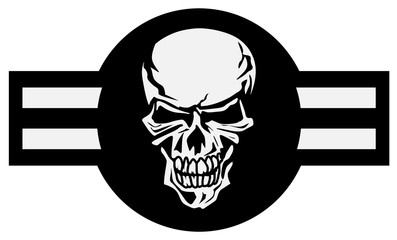 Military aviation airplane national roundel with skull, a very cool spin on a classic style aircraft logo, black and white isolated vector illustration