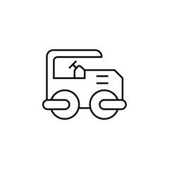 Roller, Steamline vector design of construction, presentation template for website banner and landing page header, timeline, infographics - Vector