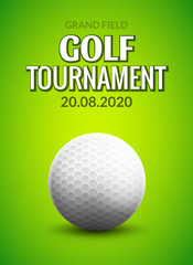 Golf tournament poster template flyer. Golf ball on green grass for competition. Sport club vector design