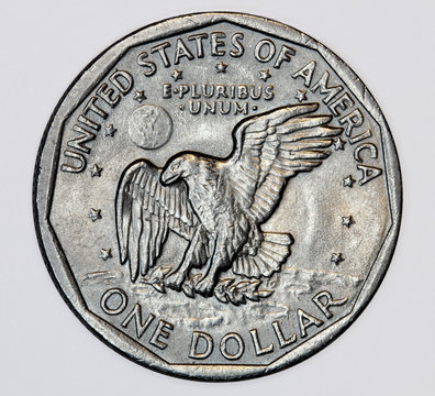 United States one dollar coin with an eagle landing on a branch, issued from 1979-1999 as the obverse of the Susan B. Anthony dollar