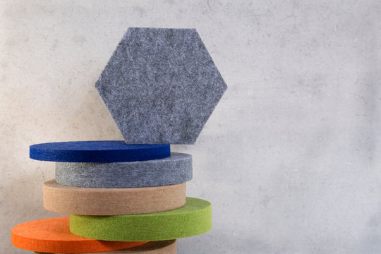 Geometric figures of acoustic panels of different shapes and colors