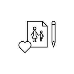 Women's day, pen, image, family icon. Simple thin line, outline vector of 8 march icons for UI and UX, website or mobile application