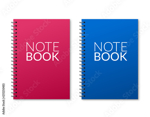 Realistic vector notebook design  Diary blank office document  Note