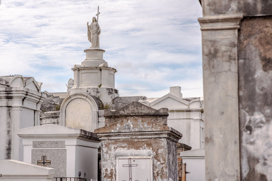 Beautiful above ground graves in the famous St. Louis Cemetery Number 1 in New Orleans, Louisiana, site of the grave of Marie Laveau, Vodoo Queen.
