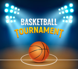 Basketball vector tournament background. Basketball court arena game poster. Banner realistic design basket template