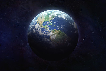 Planet Earth in outer space. Blue marble. Civilization. Continent America and pacific ocean on surface. Elements of this image furnished by NASA