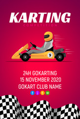 Karting car competition banner. Karting race vector concept giftcard and postcard poster championship