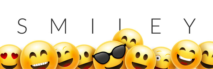 Smiley funny background emoticon face vector wallpaper. Fun smile 3d template design