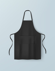 Fototapeta Black blank kitchen cotton apron isolated vector illustration. Realistic image