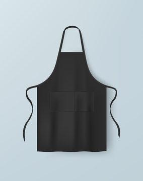 Black blank kitchen cotton apron isolated vector illustration. Realistic image