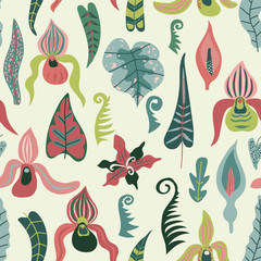 Tropical flowers and leaves. Jungle - seamless vector pattern.